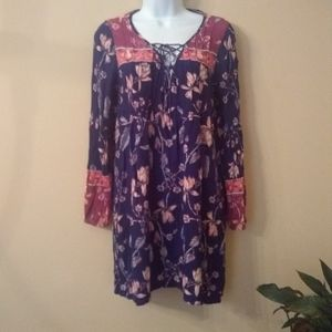 Billabong blue and pink floral tunic dress